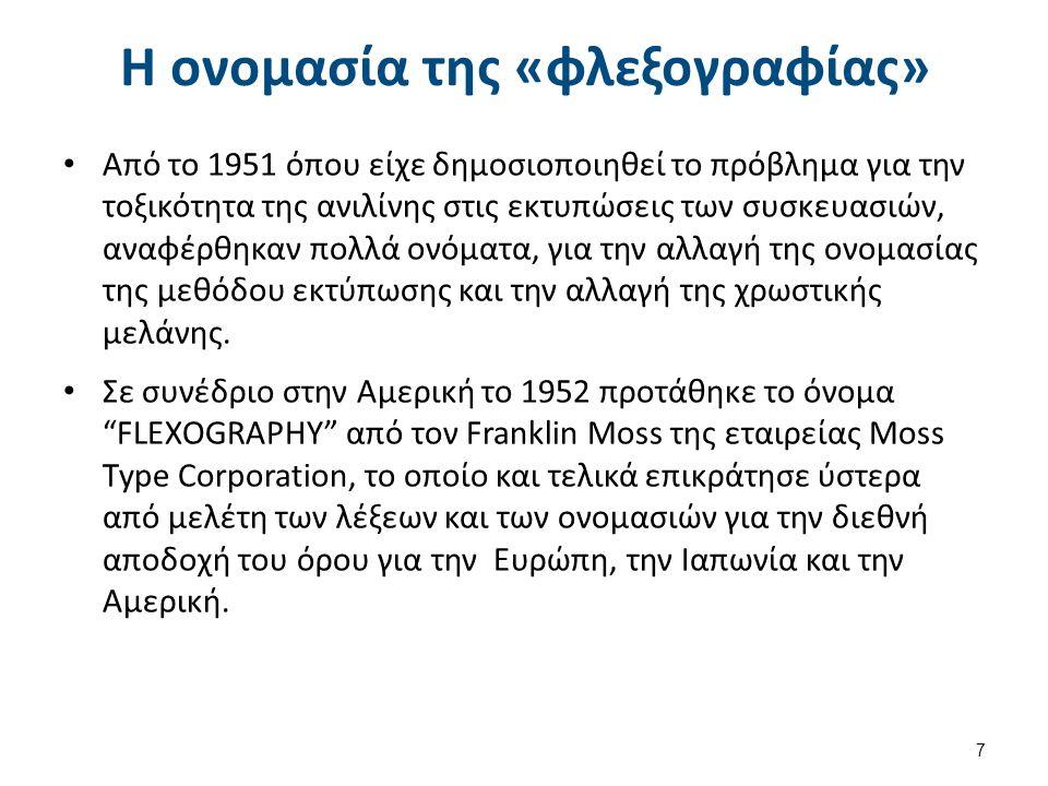 Η ονομασία της «φλεξογραφίας» Από το 1951 όπου είχε δημοσιοποιηθεί το πρόβλημα για την τοξικότητα της ανιλίνης στις εκτυπώσεις των συσκευασιών, αναφέρθηκαν πολλά ονόματα, για την αλλαγή της ονομασίας της μεθόδου εκτύπωσης και την αλλαγή της χρωστικής μελάνης.