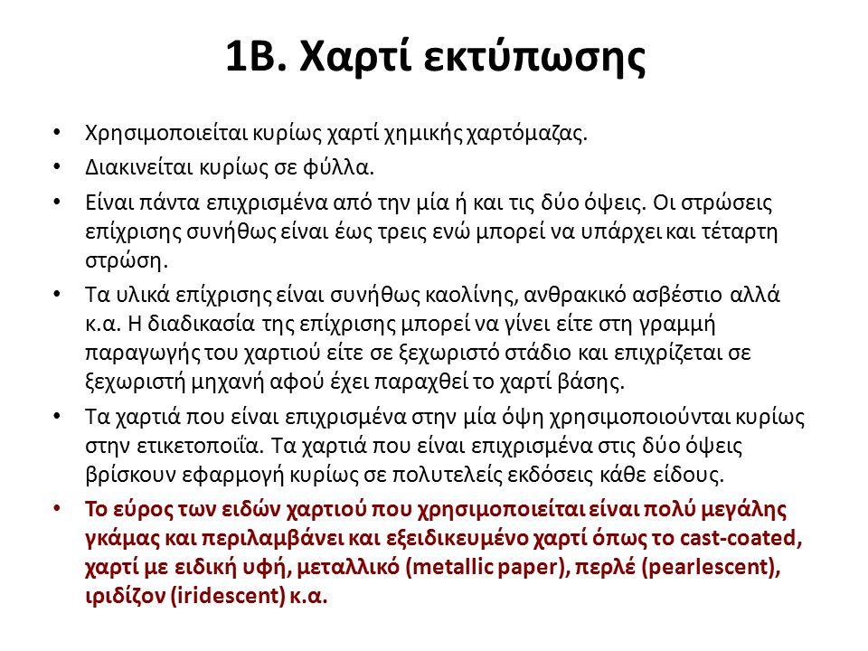 1Β. Χαρτί εκτύπωσης Χρησιμοποιείται κυρίως χαρτί χημικής χαρτόμαζας.
