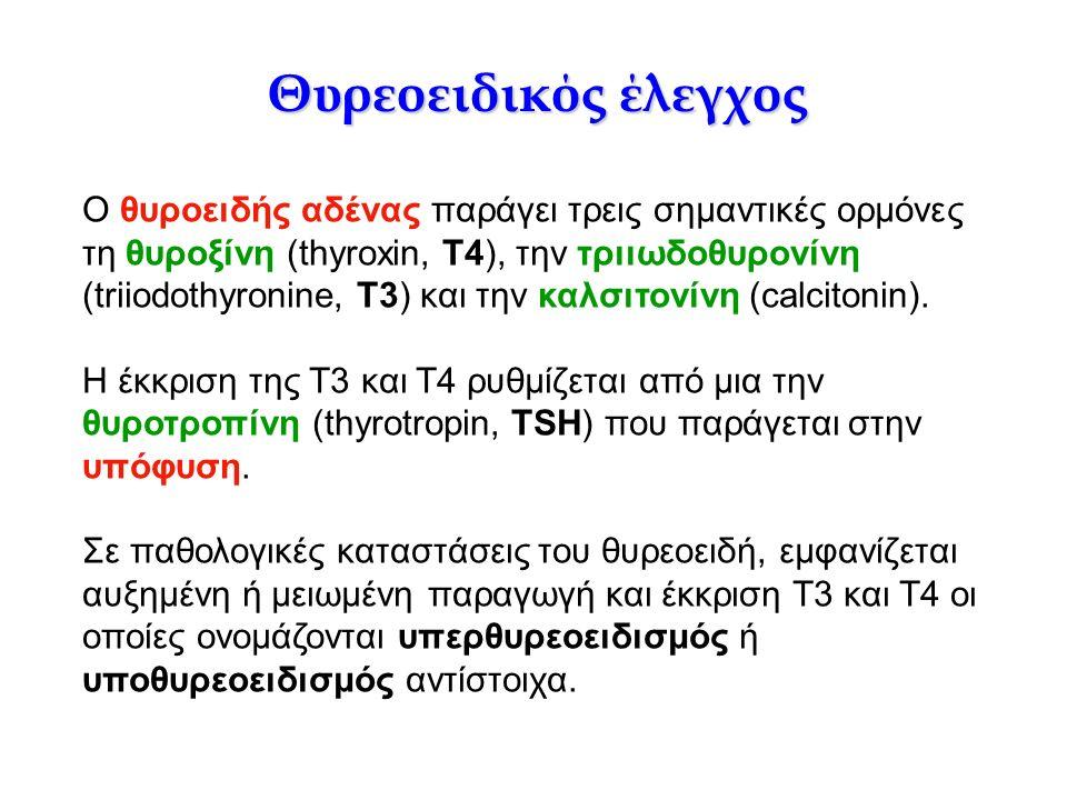Θυρεοειδικός έλεγχος O θυροειδής αδένας παράγει τρεις σημαντικές ορμόνες τη θυροξίνη (thyroxin, T4), την τριιωδοθυρονίνη (triiodothyronine, Τ3) και τη