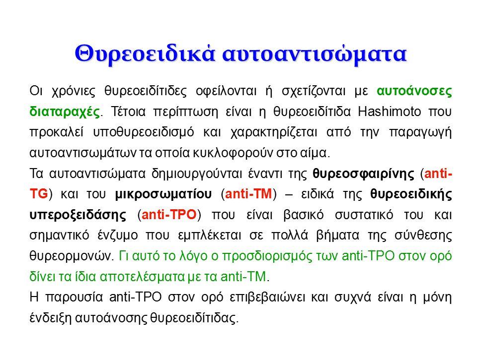 Θυρεοειδικά αυτοαντισώματα Οι χρόνιες θυρεοειδίτιδες οφείλονται ή σχετίζονται με αυτοάνοσες διαταραχές. Τέτοια περίπτωση είναι η θυρεοειδίτιδα Hashimo