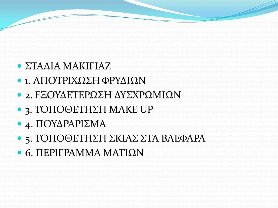 7.ΤΟΠΟΘΕΤΗΣΗ ΜΑΣΚΑΡΑ 8. ΔΙΟΡΘΩΣΗ ΦΡΥΔΙΩΝ 9. ΤΟΠΟΘΕΤΗΣΗ ΡΟΥΖ 10.