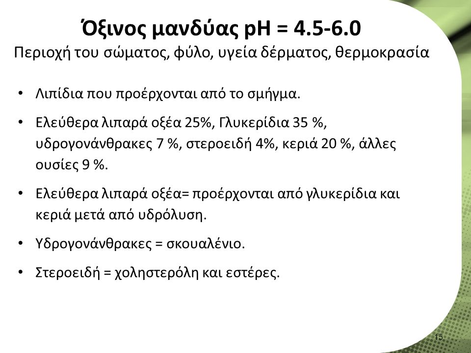 Όξινος μανδύας pH = 4.5-6.0 Περιοχή του σώματος, φύλο, υγεία δέρματος, θερμοκρασία Λιπίδια που προέρχονται από το σμήγμα.