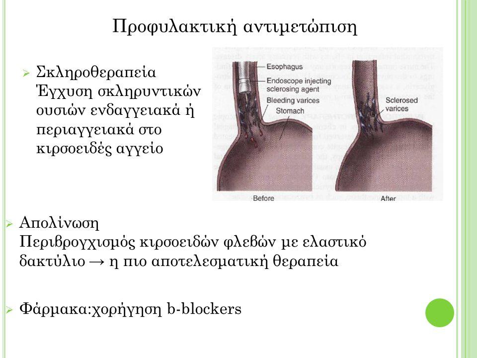  Σκληροθεραπεία Έγχυση σκληρυντικών ουσιών ενδαγγειακά ή περιαγγειακά στο κιρσοειδές αγγείο Προφυλακτική αντιμετώπιση  Απολίνωση Περιβρογχισμός κιρσοειδών φλεβών με ελαστικό δακτύλιο → η πιο αποτελεσματική θεραπεία  Φάρμακα:χορήγηση b-blockers