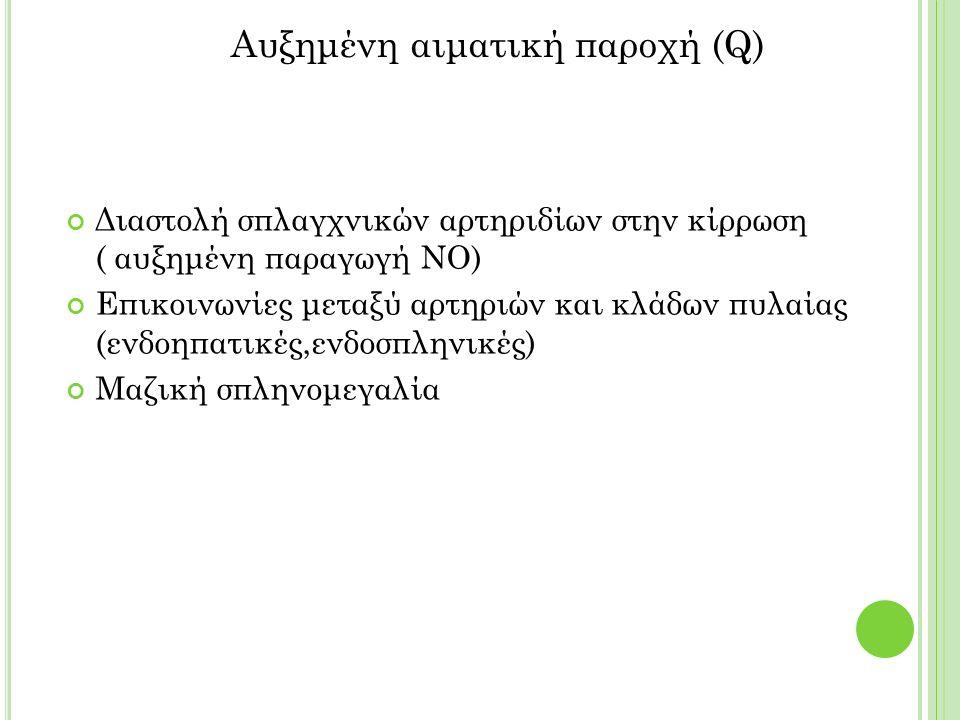 Διαστολή σπλαγχνικών αρτηριδίων στην κίρρωση ( αυξημένη παραγωγή ΝΟ) Επικοινωνίες μεταξύ αρτηριών και κλάδων πυλαίας (ενδοηπατικές,ενδοσπληνικές) Μαζική σπληνομεγαλία Αυξημένη αιματική παροχή (Q)