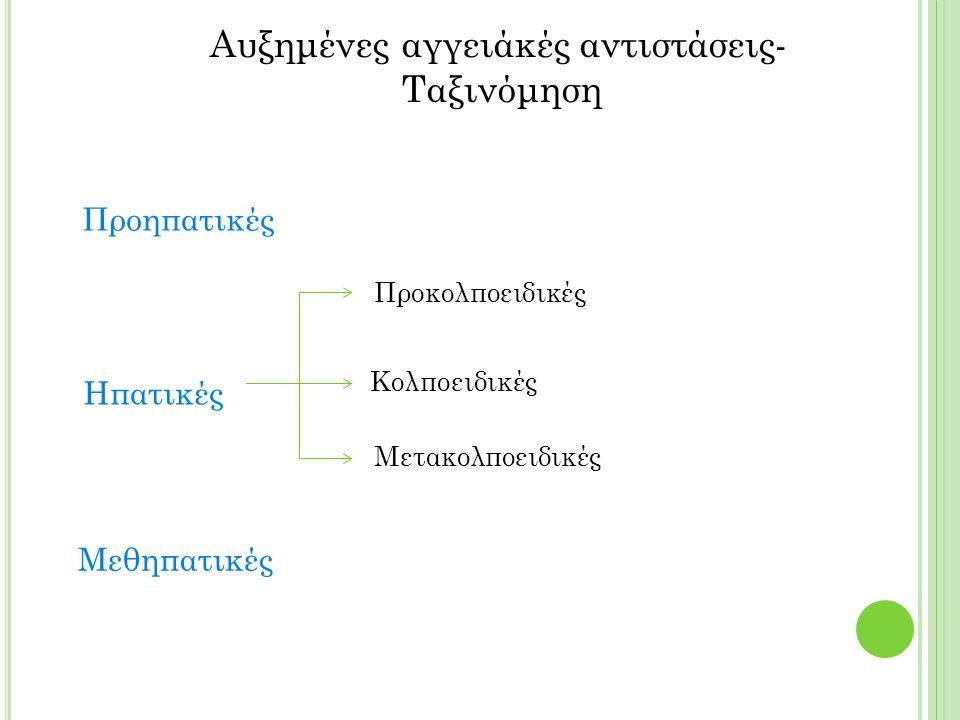 Αυξημένες αγγειάκές αντιστάσεις- Ταξινόμηση Προηπατικές Μεθηπατικές Ηπατικές Προκολποειδικές Κολποειδικές Μετακολποειδικές