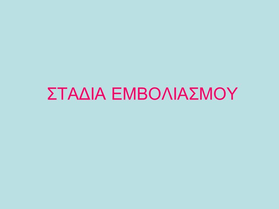 ΣΤΑΔΙΑ ΕΜΒΟΛΙΑΣΜΟΥ