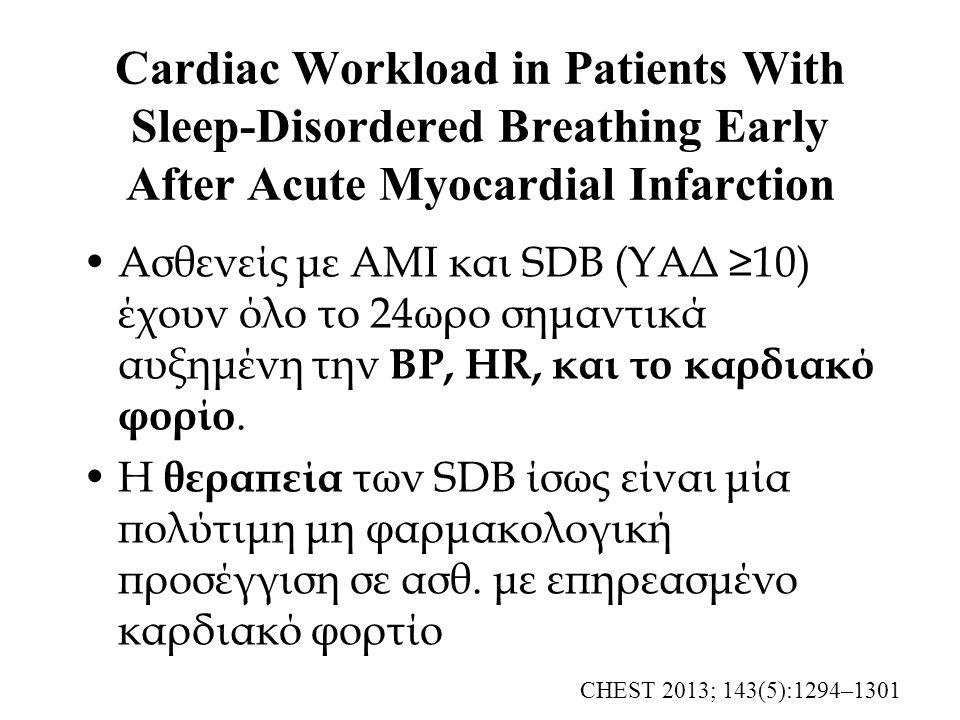 Cardiac Workload in Patients With Sleep-Disordered Breathing Early After Acute Myocardial Infarction Ασθενείς με AMI και SDB (ΥΑΔ ≥10) έχουν όλο το 24ωρο σημαντικά αυξημένη την BP, HR, και το καρδιακό φορίο.