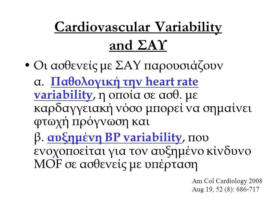 Cardiovascular Variability and ΣΑΥ Οι ασθενείς με ΣΑΥ παρουσιάζουν α. Παθολογική την heart rate variability, η οποία σε ασθ. με καρδαγγειακή νόσο μπορ