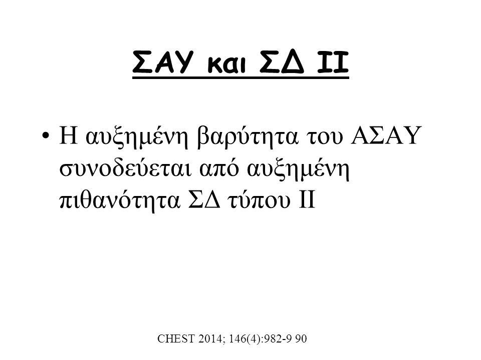 ΣΑΥ και ΣΔ ΙΙ Η αυξημένη βαρύτητα του ΑΣΑΥ συνοδεύεται από αυξημένη πιθανότητα ΣΔ τύπου ΙΙ CHEST 2014; 146(4):982-9 90
