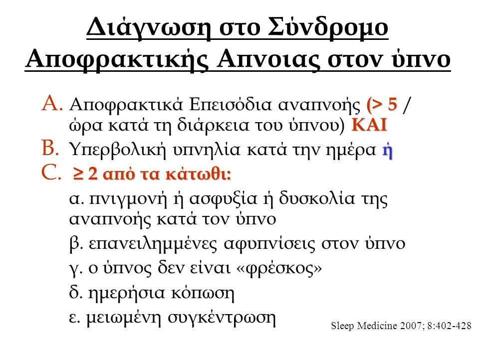 Διάγνωση στο Σύνδρομο Αποφρακτικής Απνοιας στον ύπνο (> 5 ΚΑΙ A.