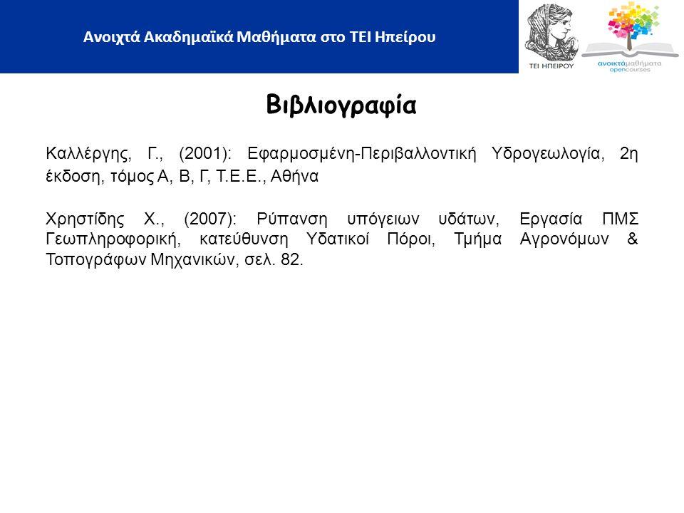 Βιβλιογραφία Καλλέργης, Γ., (2001): Εφαρμοσμένη-Περιβαλλοντική Υδρογεωλογία, 2η έκδοση, τόμος Α, Β, Γ, Τ.Ε.Ε., Αθήνα Χρηστίδης Χ., (2007): Ρύπανση υπόγειων υδάτων, Εργασία ΠΜΣ Γεωπληροφορική, κατεύθυνση Υδατικοί Πόροι, Τμήμα Αγρονόμων & Τοπογράφων Μηχανικών, σελ.
