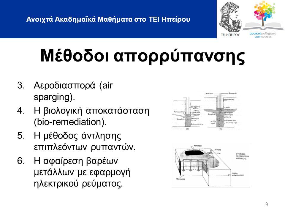 Ανοιχτά Ακαδημαϊκά Μαθήματα στο ΤΕΙ Ηπείρου 9 Μέθοδοι απορρύπανσης 3.Αεροδιασπορά (air sparging).