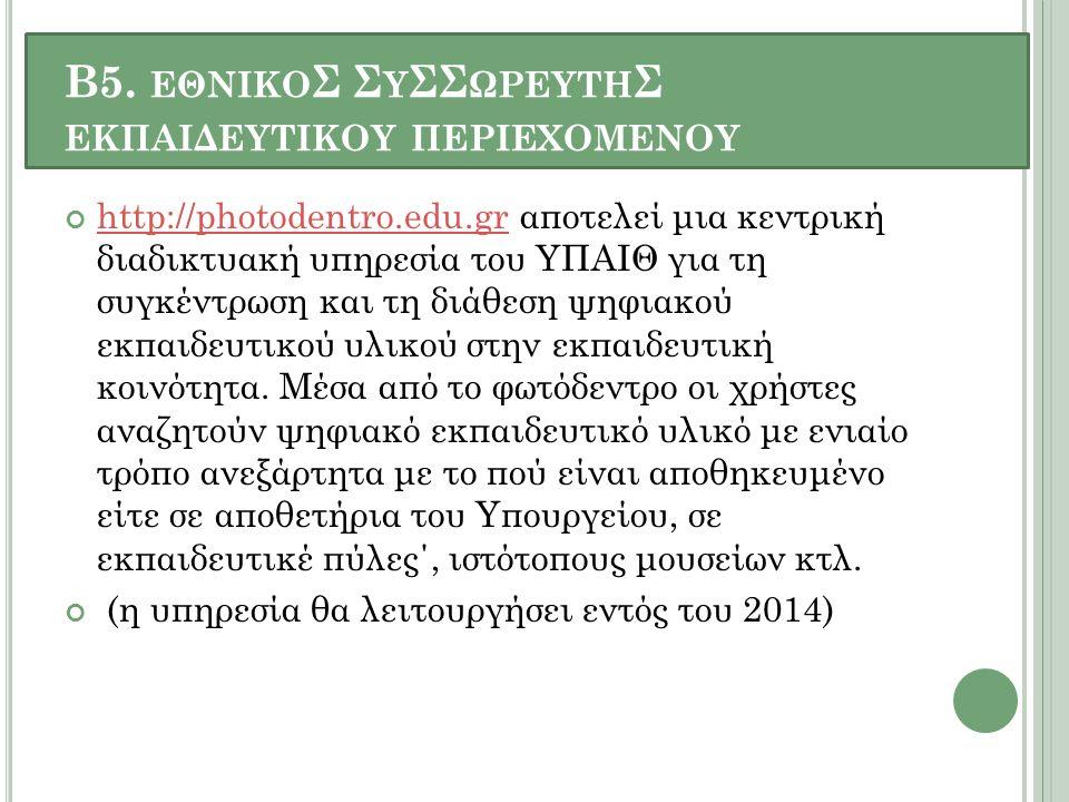 Β5. ΕΘΝΙΚΟ Σ Σ Υ ΣΣ ΩΡΕΥΤΗ Σ ΕΚΠΑΙΔΕΥΤΙΚΟΥ ΠΕΡΙΕΧΟΜΕΝΟΥ http://photodentro.edu.grhttp://photodentro.edu.gr αποτελεί μια κεντρική διαδικτυακή υπηρεσία