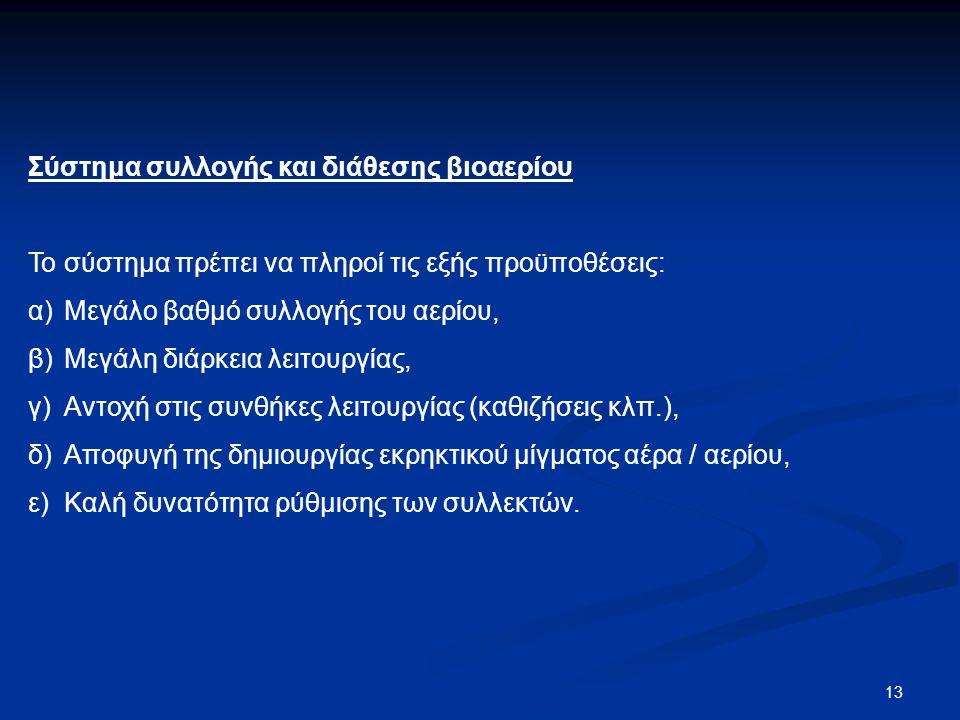 13 Σύστημα συλλογής και διάθεσης βιοαερίου Το σύστημα πρέπει να πληροί τις εξής προϋποθέσεις: α) Μεγάλο βαθμό συλλογής του αερίου, β) Μεγάλη διάρκεια