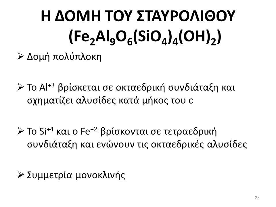 Η ΔΟΜΗ ΤΟΥ ΣΤΑΥΡΟΛΙΘΟΥ (Fe 2 Al 9 O 6 (SiO 4 ) 4 (OH) 2 )  Δομή πολύπλοκη  Το Al +3 βρίσκεται σε οκταεδρική συνδιάταξη και σχηματίζει αλυσίδες κατά μήκος του c  Το Si +4 και ο Fe +2 βρίσκονται σε τετραεδρική συνδιάταξη και ενώνουν τις οκταεδρικές αλυσίδες  Συμμετρία μονοκλινής 25