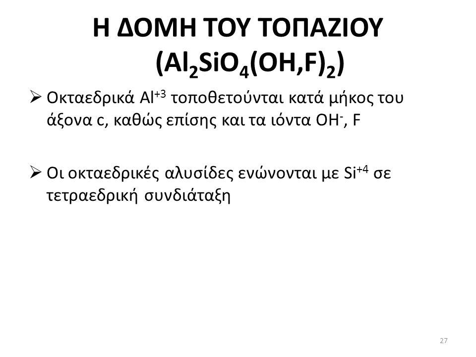 Η ΔΟΜΗ ΤΟΥ ΤΟΠΑΖΙΟΥ (Al 2 SiO 4 (OH,F) 2 )  Οκταεδρικά Al +3 τοποθετούνται κατά μήκος του άξονα c, καθώς επίσης και τα ιόντα OH -, F  Οι οκταεδρικές αλυσίδες ενώνονται με Si +4 σε τετραεδρική συνδιάταξη 27