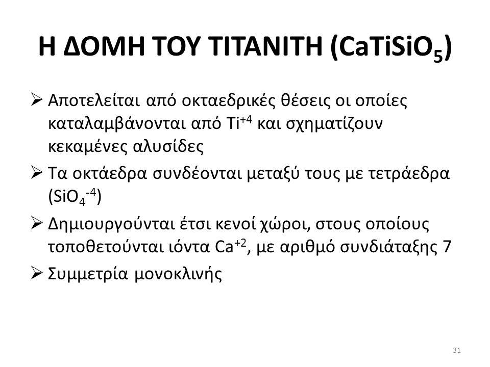 Η ΔΟΜΗ ΤΟΥ ΤΙΤΑΝΙΤΗ (CaTiSiO 5 )  Αποτελείται από οκταεδρικές θέσεις οι οποίες καταλαμβάνονται από Ti +4 και σχηματίζουν κεκαμένες αλυσίδες  Τα οκτά