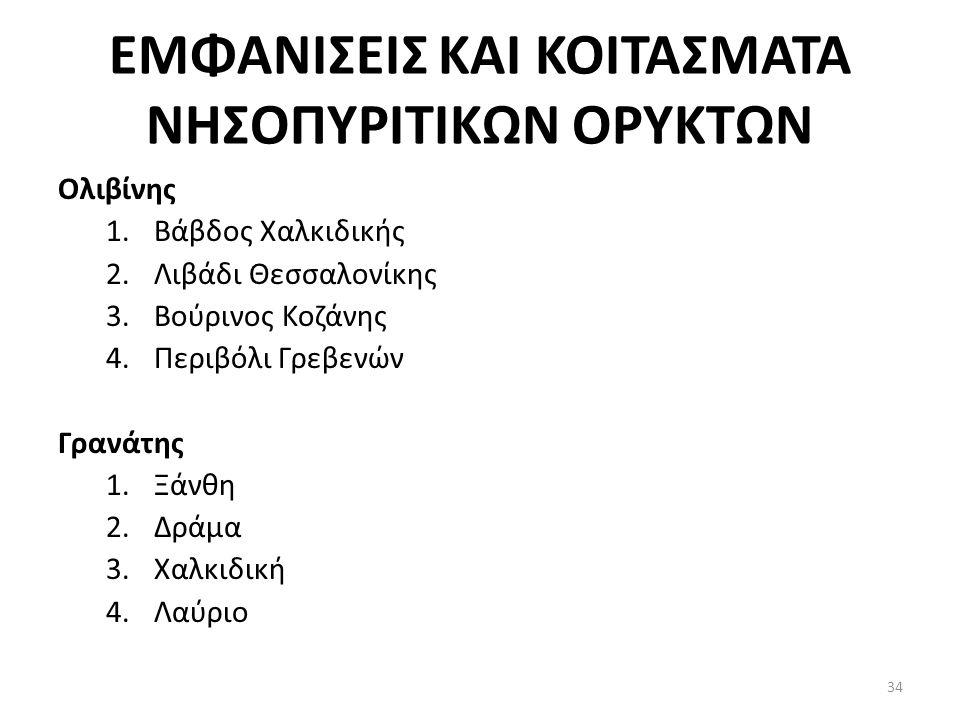 ΕΜΦΑΝΙΣΕΙΣ ΚΑΙ ΚΟΙΤΑΣΜΑΤΑ ΝΗΣΟΠΥΡΙΤΙΚΩΝ ΟΡΥΚΤΩΝ Ολιβίνης 1.Βάβδος Χαλκιδικής 2.Λιβάδι Θεσσαλονίκης 3.Βούρινος Κοζάνης 4.Περιβόλι Γρεβενών Γρανάτης 1.Ξάνθη 2.Δράμα 3.Χαλκιδική 4.Λαύριο 34