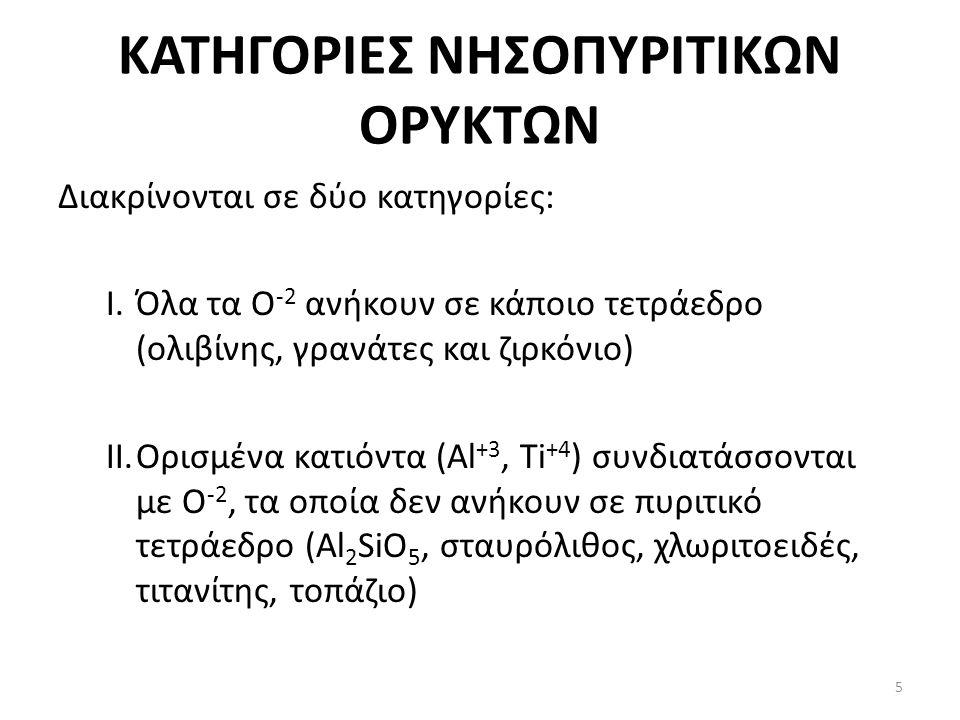 ΚΑΤΗΓΟΡΙΕΣ ΝΗΣΟΠΥΡΙΤΙΚΩΝ ΟΡΥΚΤΩΝ Διακρίνονται σε δύο κατηγορίες: I.Όλα τα Ο -2 ανήκουν σε κάποιο τετράεδρο (ολιβίνης, γρανάτες και ζιρκόνιο) II.Ορισμένα κατιόντα (Al +3, Ti +4 ) συνδιατάσσονται με O -2, τα οποία δεν ανήκουν σε πυριτικό τετράεδρο (Al 2 SiO 5, σταυρόλιθος, χλωριτοειδές, τιτανίτης, τοπάζιο) 5