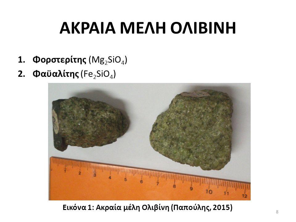 ΑΚΡΑΙΑ ΜΕΛΗ ΟΛΙΒΙΝΗ 1.Φορστερίτης (Mg 2 SiO 4 ) 2.Φαϋαλίτης (Fe 2 SiO 4 ) Εικόνα 1: Ακραία μέλη Ολιβίνη (Παπούλης, 2015) 8