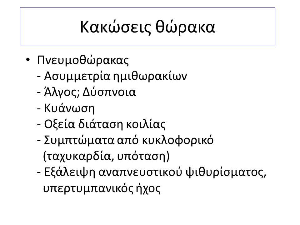 Κακώσεις θώρακα Πνευμοθώρακας - Ασυμμετρία ημιθωρακίων - Άλγος; Δύσπνοια - Κυάνωση - Οξεία διάταση κοιλίας - Συμπτώματα από κυκλοφορικό (ταχυκαρδία, υ