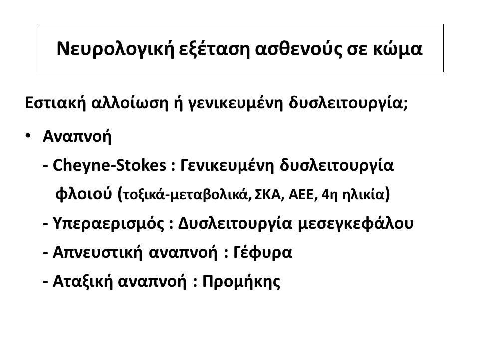 Νευρολογική εξέταση ασθενούς σε κώμα Εστιακή αλλοίωση ή γενικευμένη δυσλειτουργία; Αναπνοή - Cheyne-Stokes : Γενικευμένη δυσλειτουργία φλοιού ( τοξικά