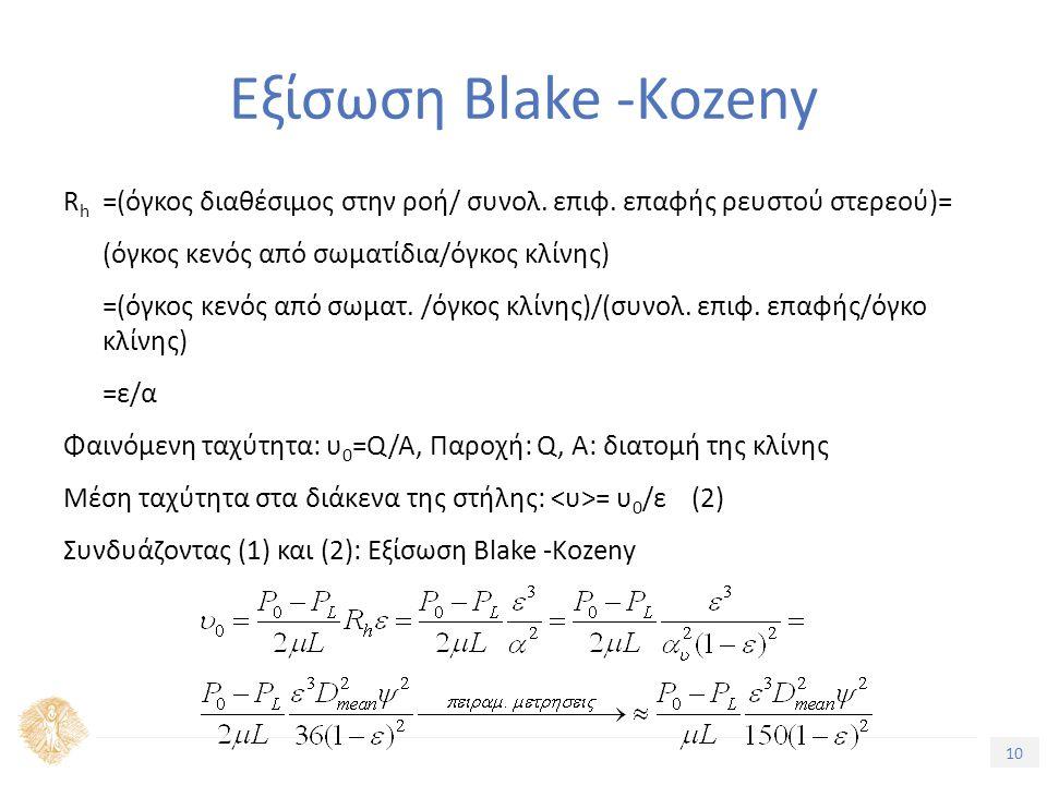 10 Τίτλος Ενότητας Εξίσωση Blake -Kozeny R h =(όγκος διαθέσιμος στην ροή/ συνολ.