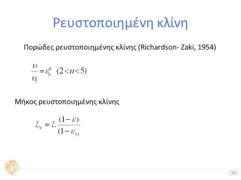 18 Τίτλος Ενότητας Ρευστοποιημένη κλίνη Πορώδες ρευστοποιημένης κλίνης (Richardson- Zaki, 1954) Μήκος ρευστοποιημένης κλίνης
