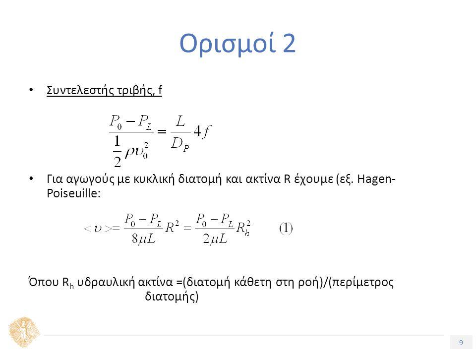 9 Τίτλος Ενότητας Ορισμοί 2 Συντελεστής τριβής, f Για αγωγούς με κυκλική διατομή και ακτίνα R έχουμε (εξ.