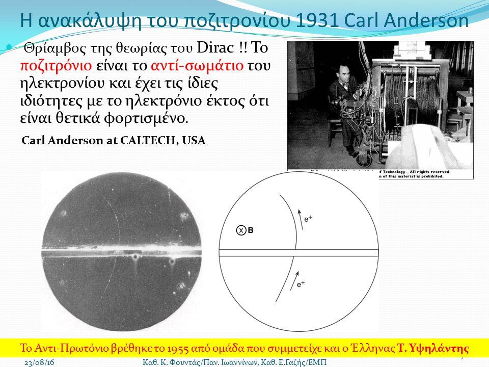 Η ανακάλυψη του ποζιτρονίου 1931 Carl Anderson Θρίαμβος της θεωρίας του Dirac !.