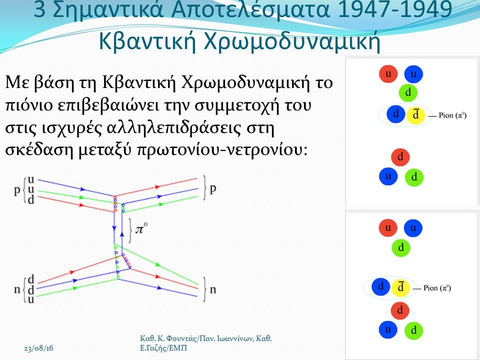 Με βάση τη Κβαντική Χρωμοδυναμική το πιόνιο επιβεβαιώνει την συμμετοχή του στις ισχυρές αλληλεπιδράσεις στη σκέδαση μεταξύ πρωτονίου-νετρονίου: 23/08/16 Καθ.