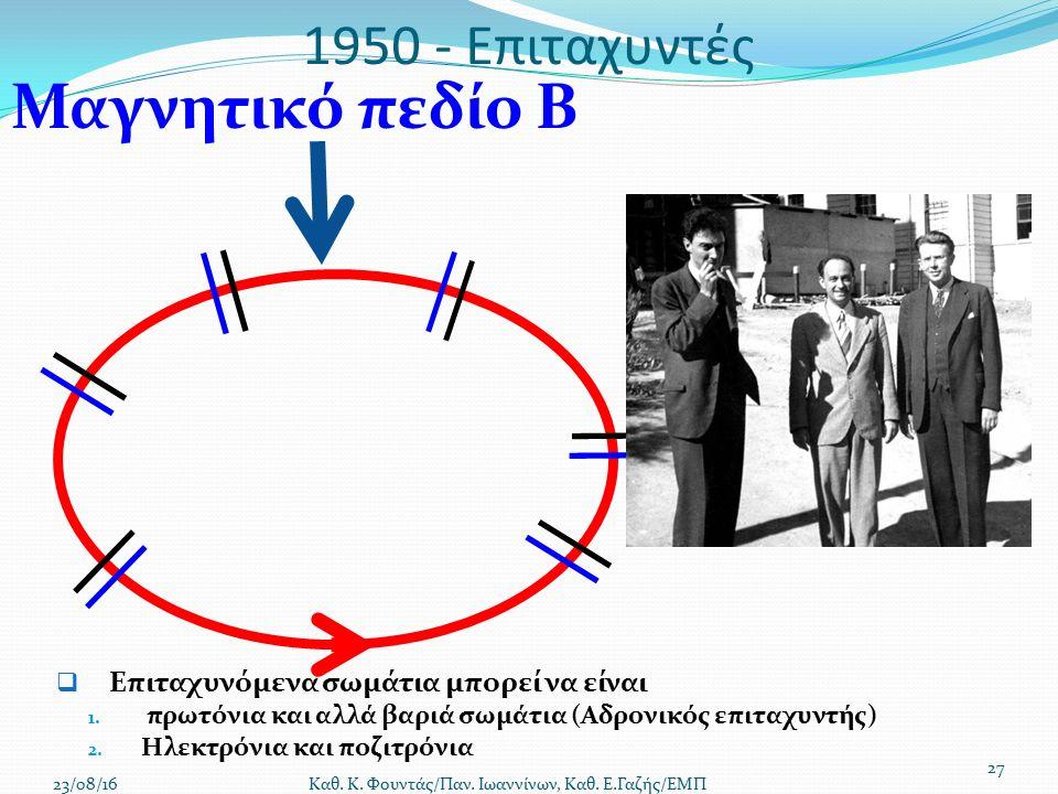 1950 - Επιταχυντές  Επιταχυνόμενα σωμάτια μπορεί να είναι 1.