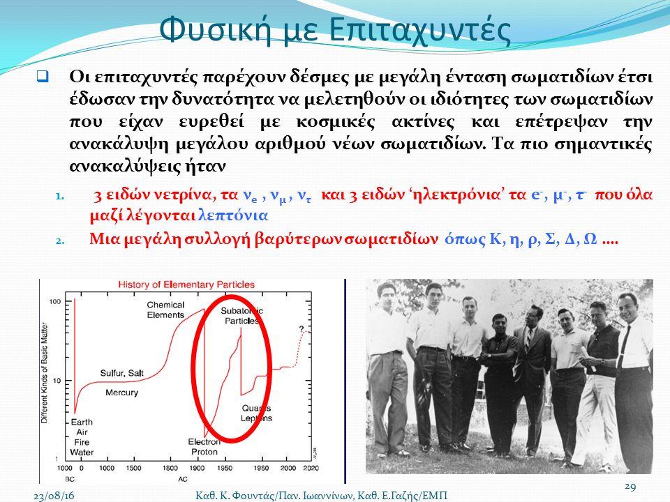 Φυσική με Επιταχυντές  Οι επιταχυντές παρέχουν δέσμες με μεγάλη ένταση σωματιδίων έτσι έδωσαν την δυνατότητα να μελετηθούν οι ιδιότητες των σωματιδίων που είχαν ευρεθεί με κοσμικές ακτίνες και επέτρεψαν την ανακάλυψη μεγάλου αριθμού νέων σωματιδίων.