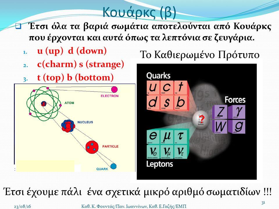 Κουάρκς (β)  Έτσι όλα τα βαριά σωμάτια αποτελούνται από Κουάρκς που έρχονται και αυτά όπως τα λεπτόνια σε ζευγάρια.