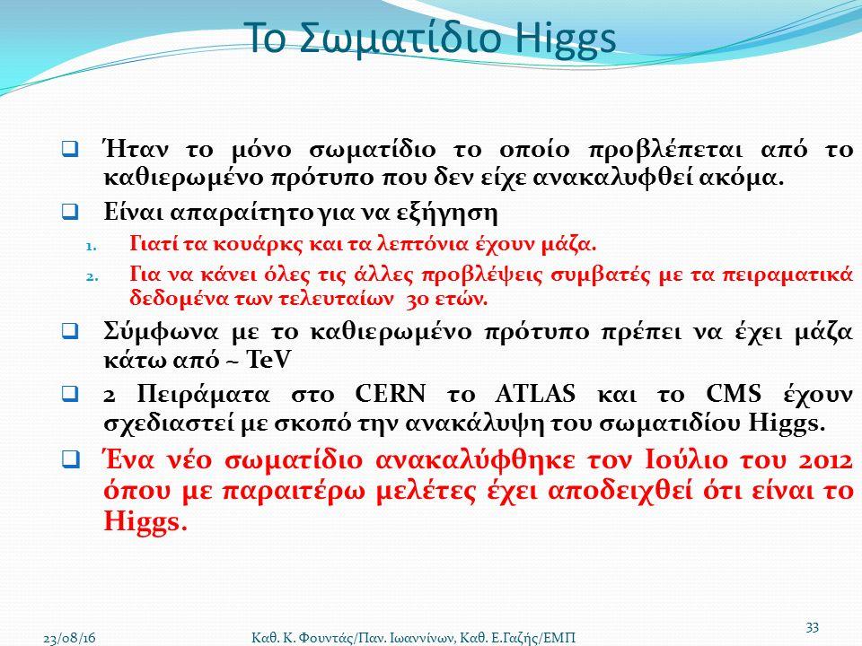 Το Σωματίδιο Higgs  Ήταν το μόνο σωματίδιο το οποίο προβλέπεται από το καθιερωμένο πρότυπο που δεν είχε ανακαλυφθεί ακόμα.