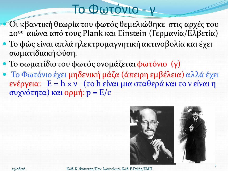 Το Φωτόνιο - γ Οι κβαντική θεωρία του φωτός θεμελιώθηκε στις αρχές του 20 ου αιώνα από τους Plank και Einstein (Γερμανία/Ελβετία) Το φώς είναι απλά ηλεκτρομαγνητική ακτινοβολία και έχει σωματιδιακή φύση.