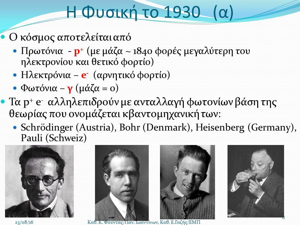 Η Φυσική το 1930 (α) Ο κόσμος αποτελείται από Πρωτόνια - p + (με μάζα ~ 1840 φορές μεγαλύτερη του ηλεκτρονίου και θετικό φορτίο) Ηλεκτρόνια – e - (αρνητικό φορτίο) Φωτόνια – γ (μάζα = 0) Τα p + e - αλληλεπιδρούν με ανταλλαγή φωτονίων βάση της θεωρίας που ονομάζεται κβαντομηχανική των: Schrödinger (Austria), Bohr (Denmark), Heisenberg (Germany), Pauli (Schweiz) 23/08/16 Καθ.