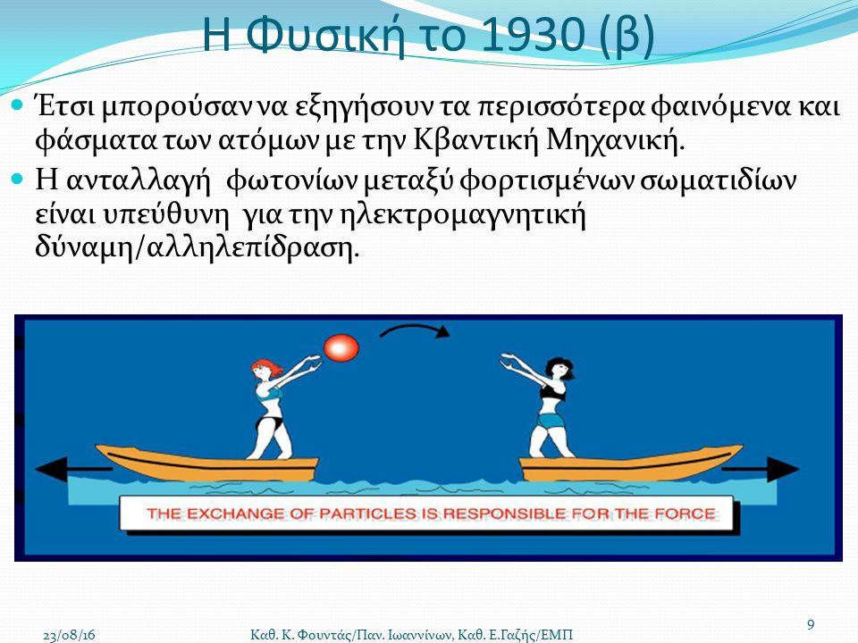 Η Φυσική το 1930 (β) Έτσι μπορούσαν να εξηγήσουν τα περισσότερα φαινόμενα και φάσματα των ατόμων με την Κβαντική Μηχανική.