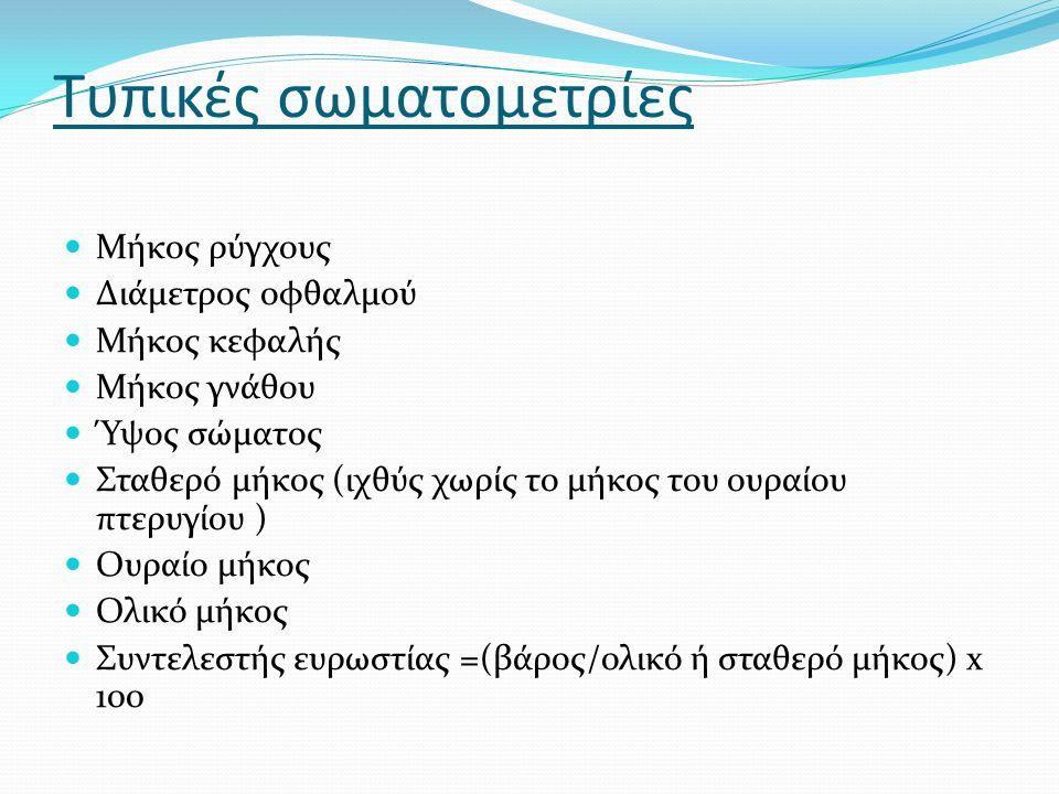 Σχήμα σώματος Ατρακτοειδές= κολυμπάει γρήγορα με κατανάλωση λιγότερης ενεργείας Πλευρικά πεπλατυσμένο Ραχοκοιλιακά πεπλατυσμένο (πεσκανδρίτσα) Οφιοειδές