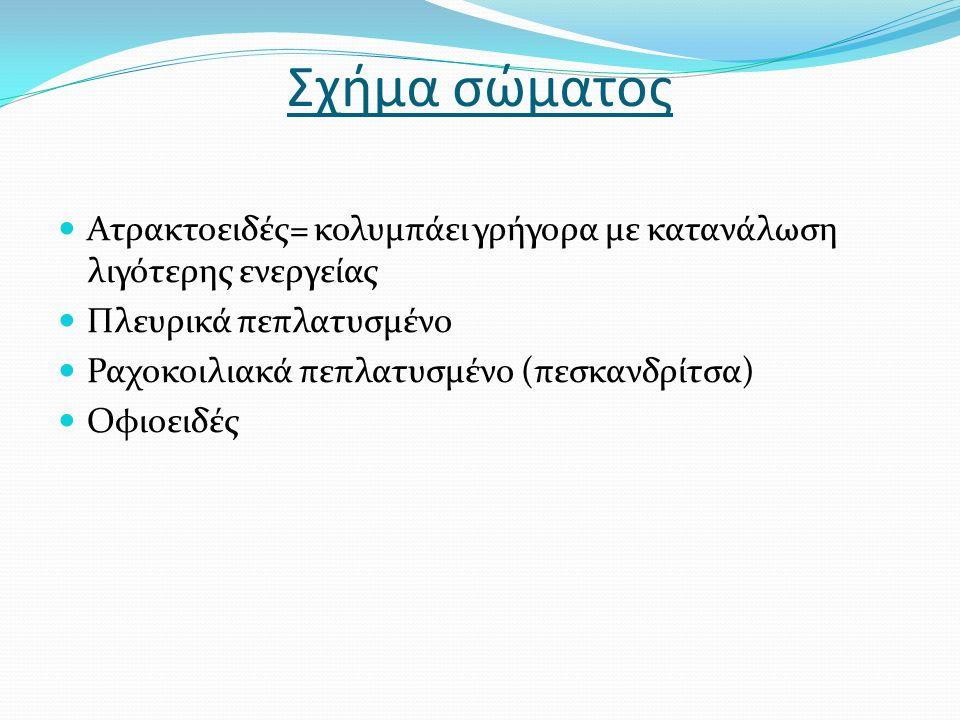 Περιοχή κεφαλής Άνω – κάτω γνάθος Μουστάκια i) λόγω έλλειψης οράσεως σε θολά νερά ii) γευστικοί κάλυκες Μπακαλιάρος = έχει δόντια στον ουρανίσκο Τα ψάρια δεν έχουν σιελογόνους αδένες γιατί ζουν στο νερό και δεν παράγουν σάλιο Δόντια: Σαρκοφάγα είδη = κυνόδοντες είναι πολύ κοινοί σπανιότερα μυλόδοντες Παμφάγα είδη = μασητική πλακά φαρυγγικά δόντια Σχήμα στόματος όταν ακουμπάμε χάρακα στην άκρη του κεφαλιού και ακουμπάμε και τα δυο χείλη είναι τελικό Άλλα είδη στόματος : ημιτελικό άνω, κάτω, προεκτεινόμενο, κοιλιακό Ρώθωνες :περιέχουν οσφρητικούς κάλυκες (ελέγχουν το περιβάλλον που ζουν και μπορεί να προληφθεί stress από αυτό) Οι οφθαλμοί δεν έχουν βλέφαρα και η όραση τους έχει εμβέλεια 15-16 μετρά σε καθαρά νερά Έχουν οστέινα βραγχιακά επικαλύμματα και τα βράγχια αποτελούνται από οκτώ βραγχιακά τόξα Ρόλος των βγχιακών επικαλυμμάτων κυρίως είναι να προστατεύουν την αναπνευστική επιφάνεια και συμμετέχουν στην αναπνευστική διαδικασία Τα βράγχια ως βραγχιακά ελάσματα ή ως βραγχιακές άκανθες Η διαδικασία αναπνοής εμπλέκει και τα βράγχια και το στόμα στην αναπνοή Το σώμα έχει πτερύγια για πλεύση και άμυνα με ραχιαίο ενιαίο ή χωρισμένο σε 2 ή 3 χωρίσματα