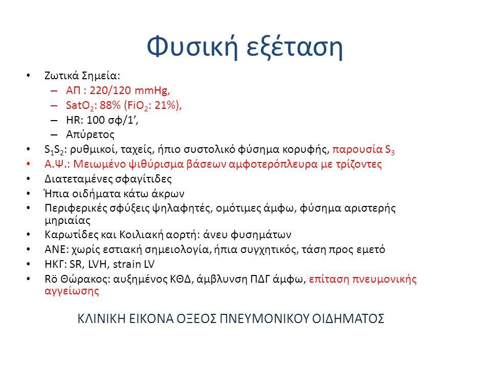 Φυσική εξέταση Ζωτικά Σημεία: – ΑΠ : 220/120 mmHg, – SatO 2 : 88% (FiO 2 : 21%), – HR: 100 σφ/1', – Απύρετος S 1 S 2 : ρυθμικοί, ταχείς, ήπιο συστολικό φύσημα κορυφής, παρουσία S 3 Α.Ψ.: Μειωμένο ψιθύρισμα βάσεων αμφοτερόπλευρα με τρίζοντες Διατεταμένες σφαγίτιδες Ήπια οιδήματα κάτω άκρων Περιφερικές σφύξεις ψηλαφητές, ομότιμες άμφω, φύσημα αριστερής μηριαίας Καρωτίδες και Κοιλιακή αορτή: άνευ φυσημάτων ΑΝΕ: χωρίς εστιακή σημειολογία, ήπια συγχητικός, τάση προς εμετό ΗΚΓ: SR, LVH, strain LV Rö Θώρακος: αυξημένος ΚΘΔ, άμβλυνση ΠΔΓ άμφω, επίταση πνευμονικής αγγείωσης ΚΛΙΝΙΚΗ ΕΙΚΟΝΑ ΟΞΕΟΣ ΠΝΕΥΜΟΝΙΚΟΥ ΟΙΔΗΜΑΤΟΣ