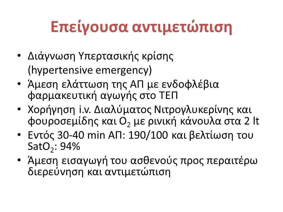 Επείγουσα αντιμετώπιση Διάγνωση Υπερτασικής κρίσης (hypertensive emergency) Άμεση ελάττωση της ΑΠ με ενδοφλέβια φαρμακευτική αγωγής στο ΤΕΠ Χορήγηση i.v.