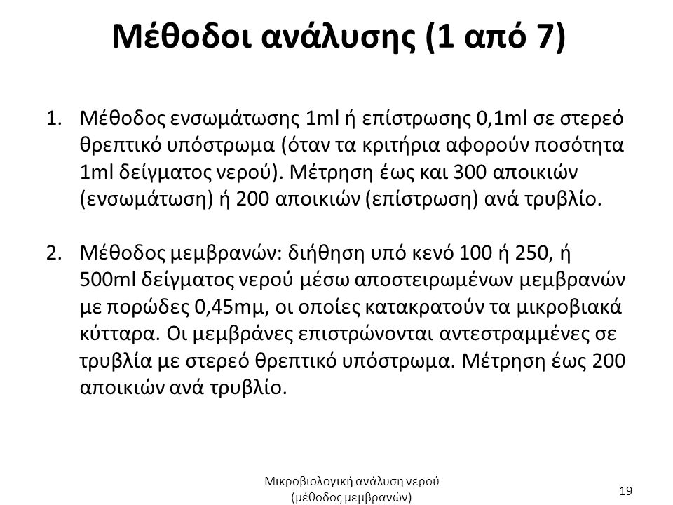 Μέθοδοι ανάλυσης (1 από 7) 1.Μέθοδος ενσωμάτωσης 1ml ή επίστρωσης 0,1ml σε στερεό θρεπτικό υπόστρωμα (όταν τα κριτήρια αφορούν ποσότητα 1ml δείγματος νερού).