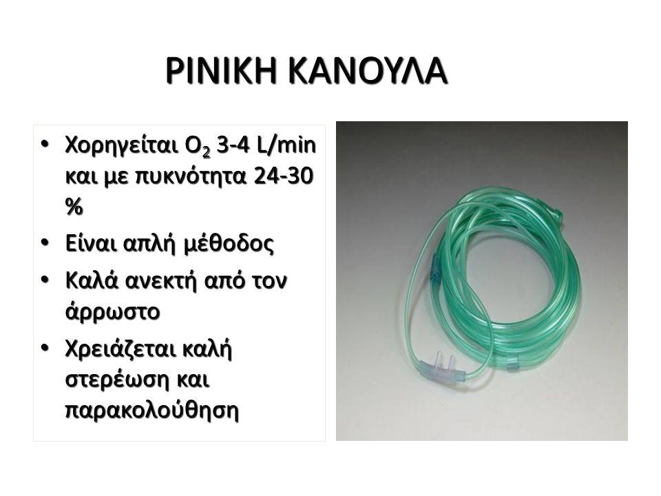 ΡΙΝΙΚΗ ΚΑΝΟΥΛΑ Χορηγείται Ο 2 3-4 L/min και με πυκνότητα 24-30 % Χορηγείται Ο 2 3-4 L/min και με πυκνότητα 24-30 % Είναι απλή μέθοδος Είναι απλή μέθοδ