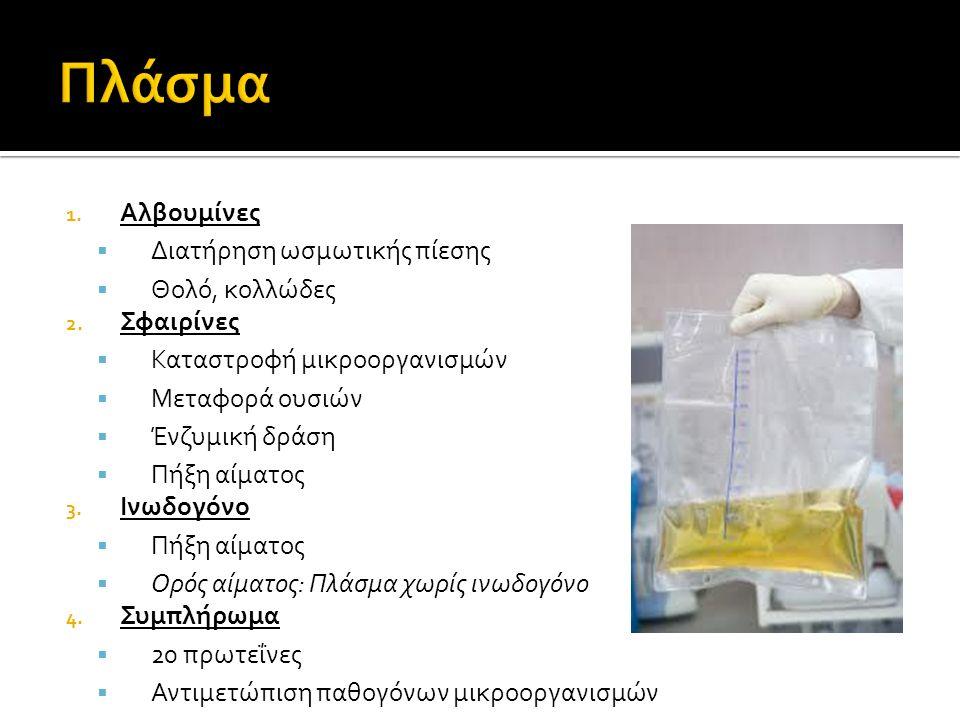 1. Αλβουμίνες  Διατήρηση ωσμωτικής πίεσης  Θολό, κολλώδες 2.