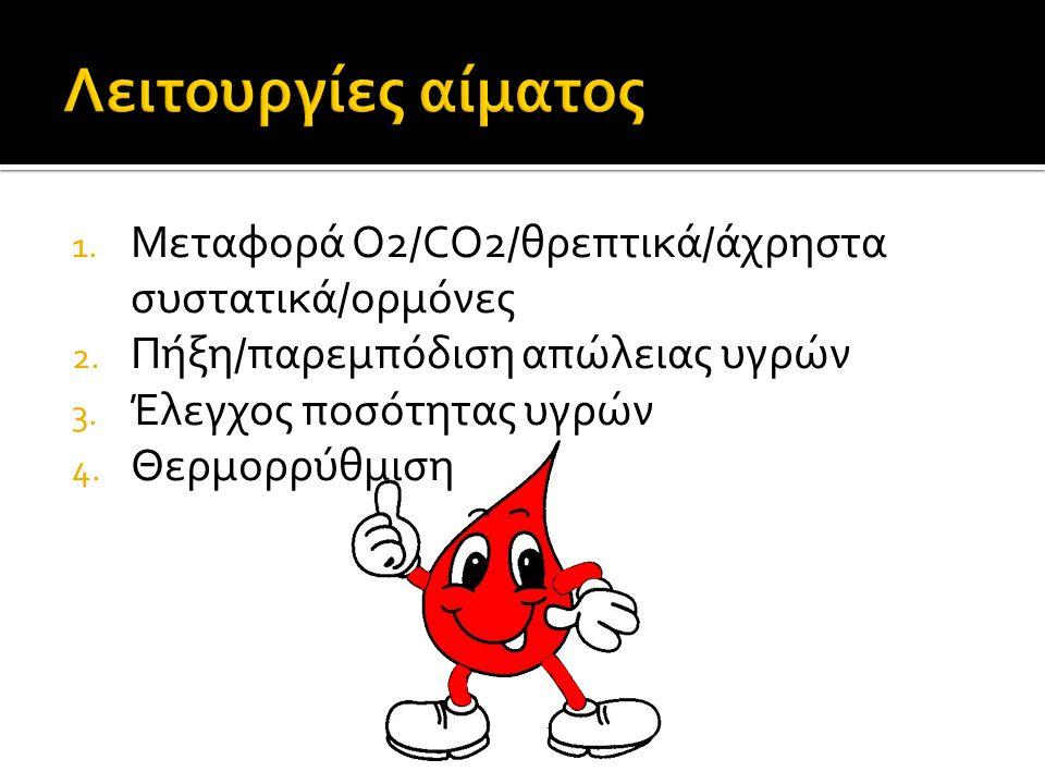 1. Μεταφορά O2/CO2/θρεπτικά/άχρηστα συστατικά/ορμόνες 2.