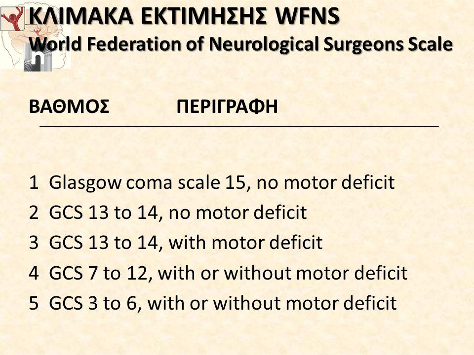 ΚΛΙΜΑΚΑ ΕΚΤΙΜΗΣΗΣ WFNS World Federation of Neurological Surgeons Scale ΚΛΙΜΑΚΑ ΕΚΤΙΜΗΣΗΣ WFNS World Federation of Neurological Surgeons Scale ΒΑΘΜΟΣ ΠΕΡΙΓΡΑΦΗ 1 Glasgow coma scale 15, no motor deficit 2 GCS 13 to 14, no motor deficit 3 GCS 13 to 14, with motor deficit 4 GCS 7 to 12, with or without motor deficit 5 GCS 3 to 6, with or without motor deficit