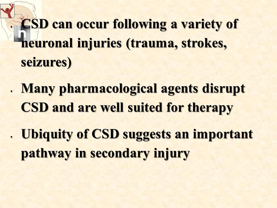  CSD can occur following a variety of neuronal injuries (trauma, strokes, seizures)  Many pharmacological agents disrupt CSD and are well suited for