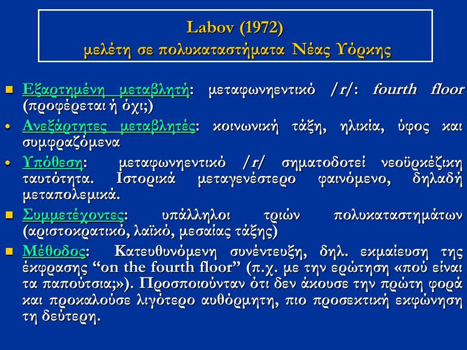 Labov (1972) μελέτη σε πολυκαταστήματα Νέας Υόρκης Εξαρτημένη μεταβλητή: μεταφωνηεντικό /r/: fourth floor (προφέρεται ή όχι;) Εξαρτημένη μεταβλητή: με