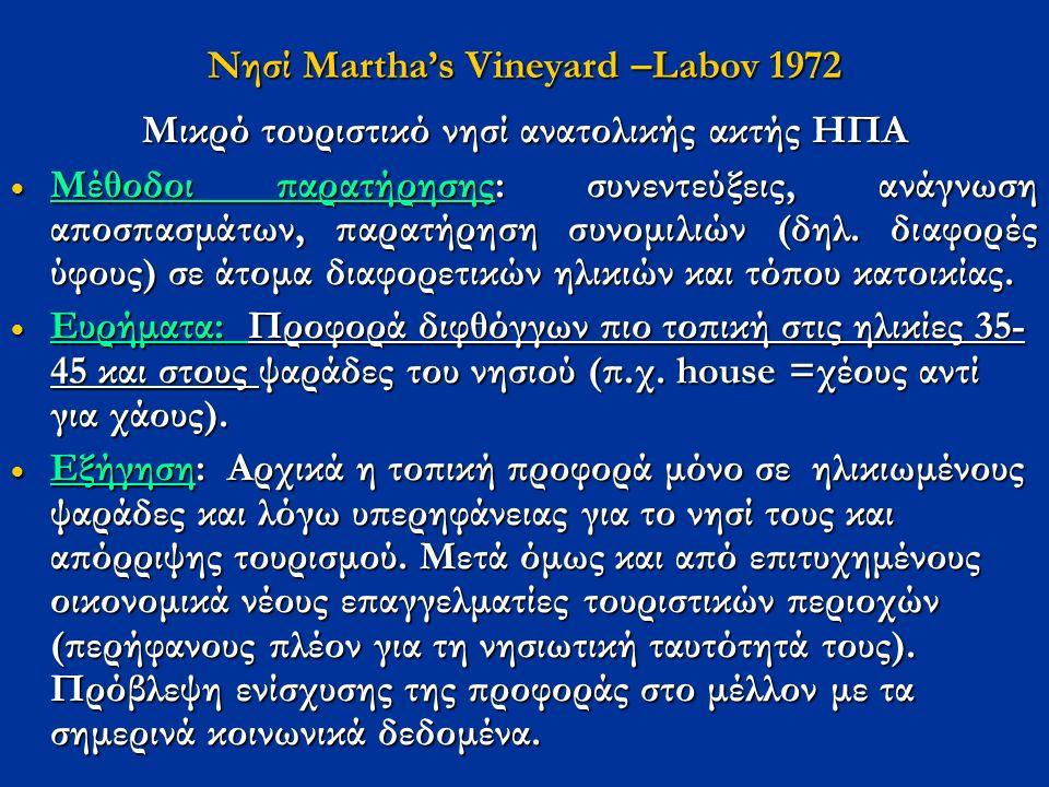 Νησί Μartha's Vineyard –Labov 1972 Μικρό τουριστικό νησί ανατολικής ακτής ΗΠΑ  Μέθοδοι παρατήρησης: συνεντεύξεις, ανάγνωση αποσπασμάτων, παρατήρηση συνομιλιών (δηλ.